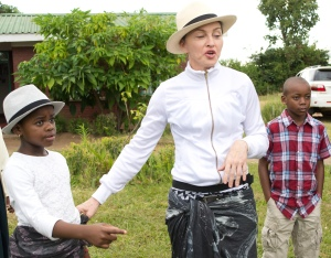 Madonna captured with her Malawian adopted kids in Malawi on Friday